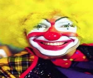 Puzzle Face de clown avec peluca et grands nez et bouche
