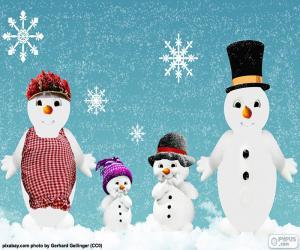 Puzzle Famille bonhommes de neige