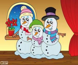 Puzzle Famille de bonhommes de neige