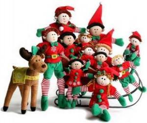 Puzzle Famille de elfes avec son renne