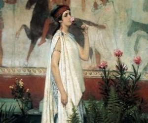 Puzzle Femme ou dame grecque avec son tunique ou chiton