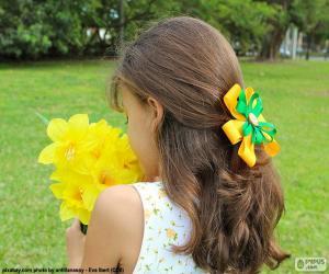 Puzzle Fille avec des fleurs