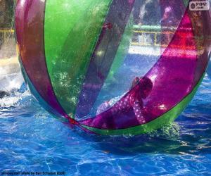 Puzzle Fille sur un ballon d'eau