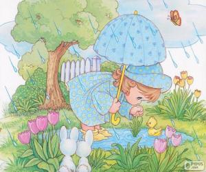 Puzzle Fille un jour de pluie