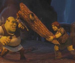 Puzzle Fiona, le guerrier, avec Shrek