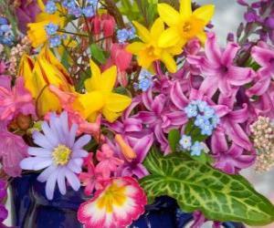 Puzzle Fleurs printanières variées