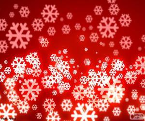 Puzzle Flocons de neige fond rouge