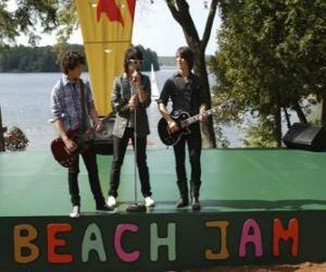Puzzle Frères Shane (Joe Jonas), Nate (Nick Jonas) et Jason Gray (Kevin Jonas) à chanter à le Beach Jam du Camp Rock