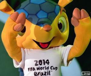 Puzzle Fuleco, la mascotte officielle de la Coupe du Monde 2014 au Brésil est un tatou