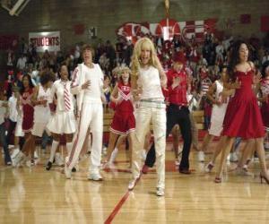 Puzzle Gabriella Montez (Vanessa Hudgens) Troy Bolton (Zac Efron), Ryan Evans (Lucas Grabeel), Sharpay Evans (Ashley Tisdale) dansant et chantant
