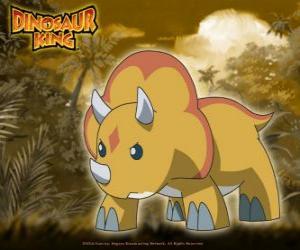 Puzzle Gabu, Chomp, le dinosaure plus fort de l'équipe-D, le triceratops de Dinosaur King