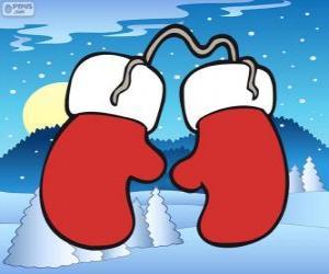 Puzzle Gants du Père Noël. Mitaines rouges et blanches