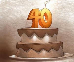 Puzzle Gâteau d'anniversaire pour célébrer 40 ans