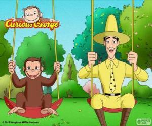 Puzzle George le singe avec son ami Ted, l'homme au chapeau jaune