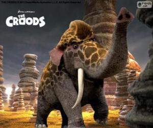 Puzzle Girelephant de Les Croods, un croisement entre une girafe et un éléphant