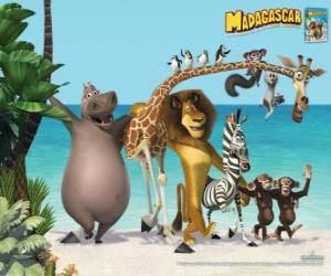 Puzzle Gloria l'hippopotame, Melman la girafe, Alex le lion, Marty le zèbre avec d'autres protagonistes de les aventures