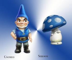 Puzzle Gnomeo est un beau et fier Blue Garden Gnome, avec son loyal et fidèle compagnon de plâtre champignons Shroom