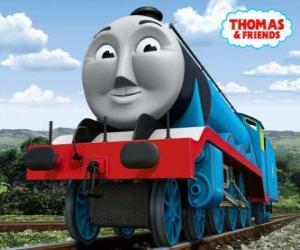 Puzzle Gordon, la locomotive bleu avec le numéro 4, le train express