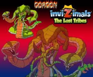 Puzzle Gorgon. Invizimals The Lost Tribes. Légendaire monstre, puissant serpent avec trois têtes