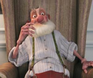 Puzzle Grand-père Noël, le père grincheux vieux Père Noël qui déteste le monde moderne