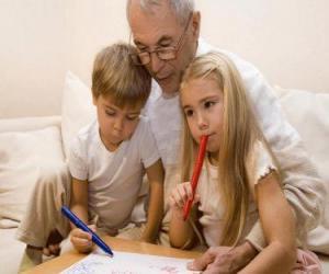 Puzzle Grand-père avec des petits