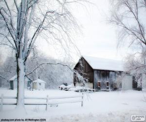 Puzzle Grange en hiver