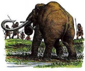 Puzzle Groupe d'hommes préhistoriques armés avec des lances de chasse d'un mammouth