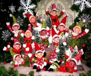 Puzzle Groupe de elfes de Noël