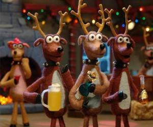 Puzzle Groupe de rennes de Noël la célébration de Noël