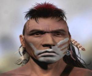 Puzzle Guerrier indien avec son visage peint