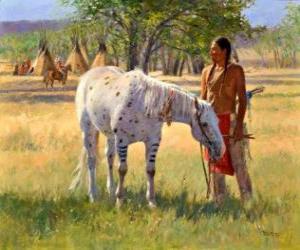 Puzzle Guerrier indien avec son cheval près du camp de