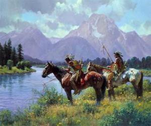 Puzzle Guerriers indiens à cheval
