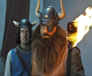 Puzzle Halvar, le père de Vicky et le chef des Vikings dans le village de Flake avec son bandeau sur l'œil