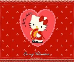 Puzzle Hello Kitty avec des coeurs