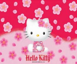 Puzzle Hello Kitty avec des fleurs