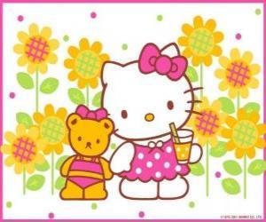 Puzzle Hello Kitty avec une boisson à la campagne avec son ours en peluche Tiny Chum