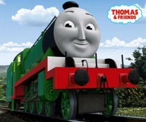 Puzzle Henry, la locomotive vert long et rapide avec le nombre 3