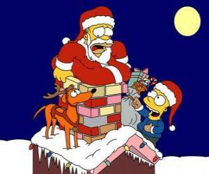 Puzzle Homer et Bart Simpson aident le Père Noël avec des cadeaux