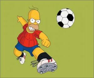 Puzzle Homer Simpson joue au football