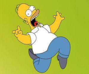 Puzzle Homer Simpson s'enfuit avec peur
