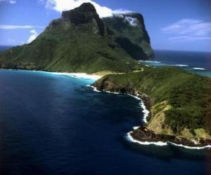 Puzzle Îles Lord Howe, cet archipel est un exemple de générer un ensemble d'îles océaniques isolées par l'activité volcanique sous-marine. Australie.