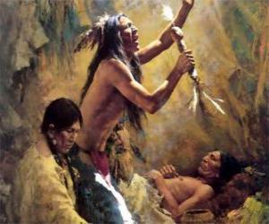 Puzzle Indiens d'Amérique dans un rituel traditionnel, en invoquant les esprits