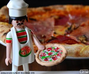Puzzle Italian chef pizza, Playmobil