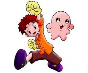 Puzzle Izzy avec son digimon Motimon. Koushiro Izumi est un gars très intelligent
