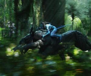 Puzzle Jake guidon d'une bête ailée connu sous le nom toruk, la créature la plus dangereuse de Pandore.