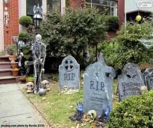 Puzzle Jardin décoré pour Halloween