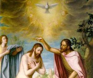 Puzzle Jésus est baptisé par Jean le Baptiste dans le fleuve Jourdain