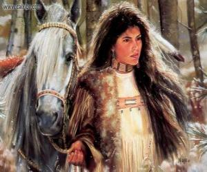 Puzzle Jeune indien avec son cheval