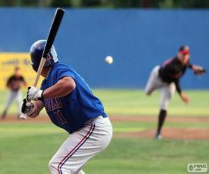 Puzzle joueur de baseball professionnel, le frappeur avec le batte tenue de haute