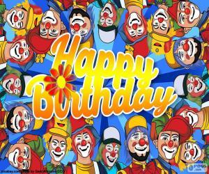 Puzzle Joyeux anniversaire avec clowns